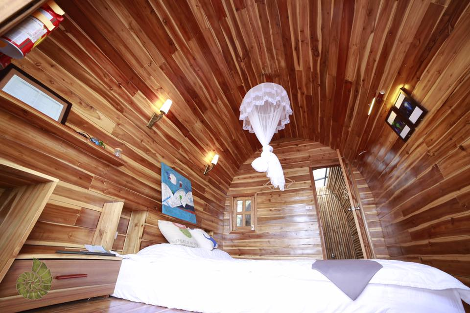 Inside a bungalow of Co To Eco Lodge