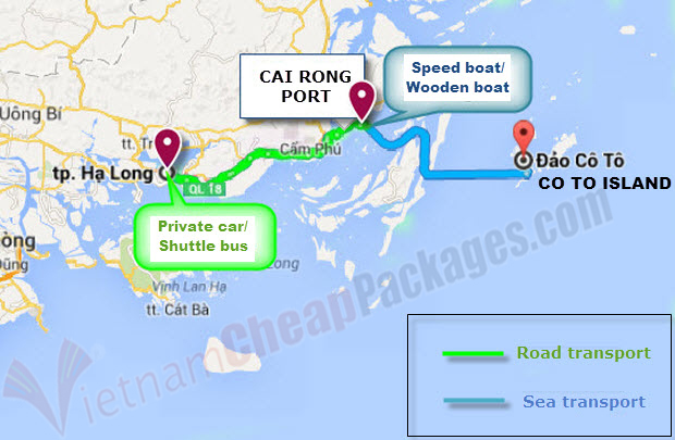 Bai Tu Long bay 5 day tour map