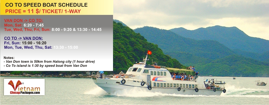 Co To speed boat Van Don - Bai Tu Long bay tour